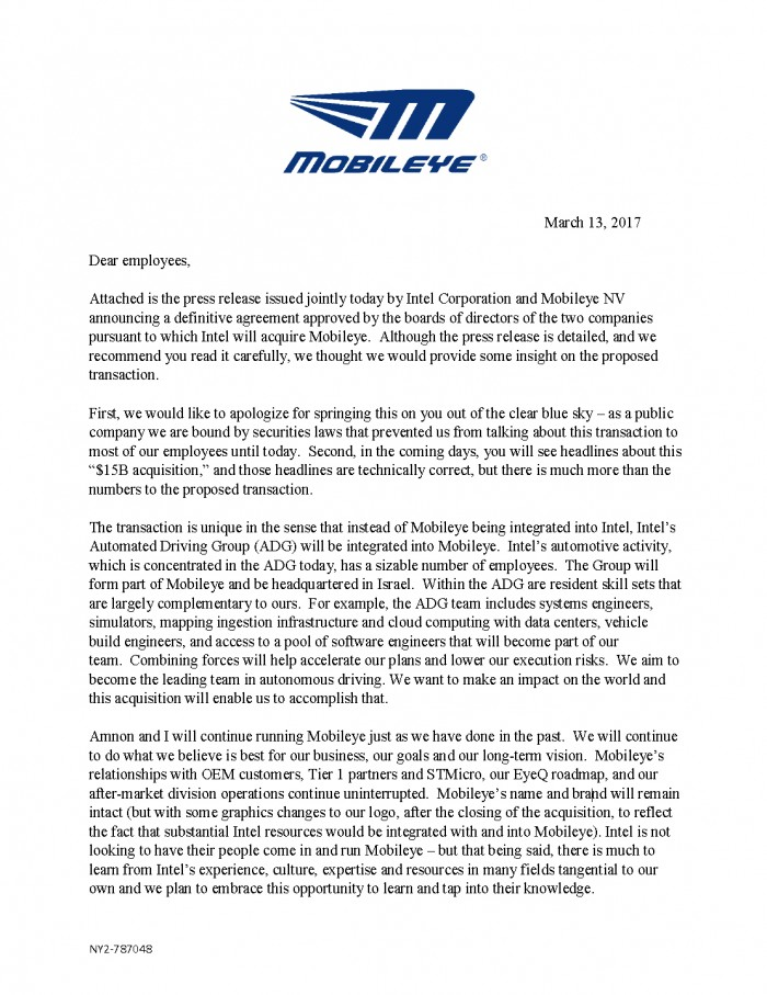 Mobileye Message