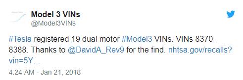Model 3 双电机四驱车型终于要来了