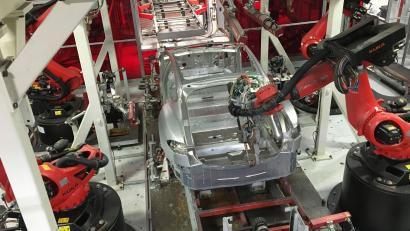 特斯拉的弗里蒙特工厂。